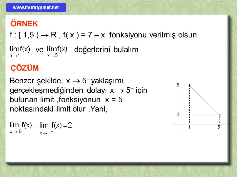 f : [ 1,5 )  R , f( x ) = 7 – x fonksiyonu verilmiş olsun.